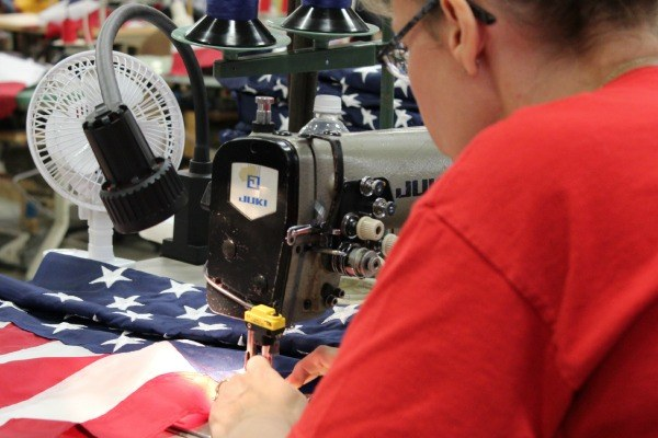 Flags are hand-sewn to produce high quality flags at the Annin Flag Company in Coshocton, Ohio.