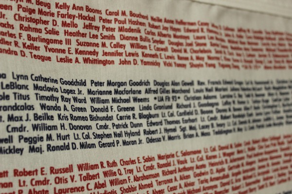 The Flag of Honor by Annin Flag Company lists the names of those that perished on 91101.