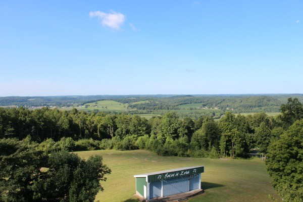 The view from the observation deck of the Gospel Light Lighthouse, overlooking the onsite outdoor theater.