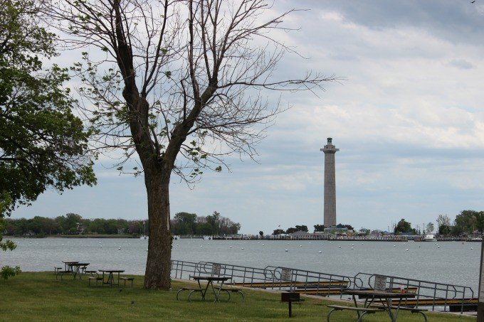 Perry's Monument as seen from Oak Point State Park.