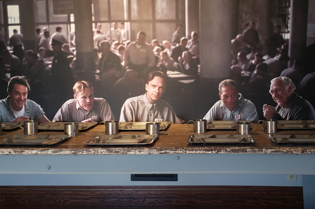A wall mural of The cast of the Shawshank Redemption