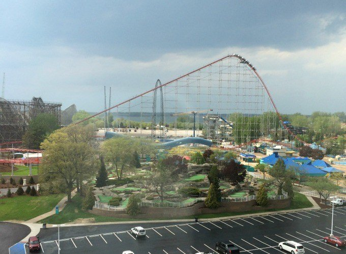 The view of Cedar Point from the 8th floor of Hotel Breakers Resort.