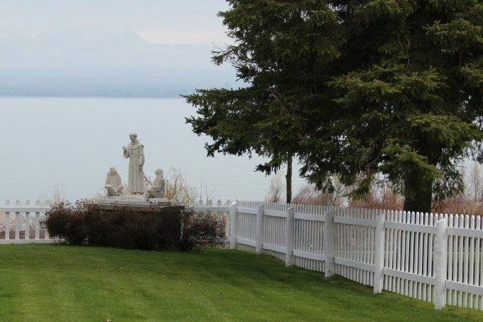 The yard of the St. Francis Solanus Indian Mission- Petoskey's oldest church and building.