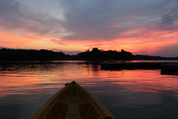 Kayaking in the early morning at Deer Creek State Park.