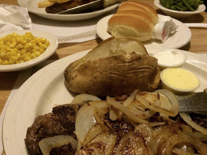 Liver and Onions Dinner at Lyn-Way Restaurant.