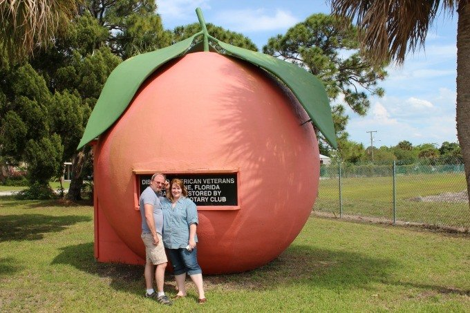 My husband and I posting at the Giant Orange of Melbourne.