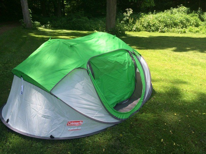 Set up the Coleman Pop-up Tent in 10 seconds or less.