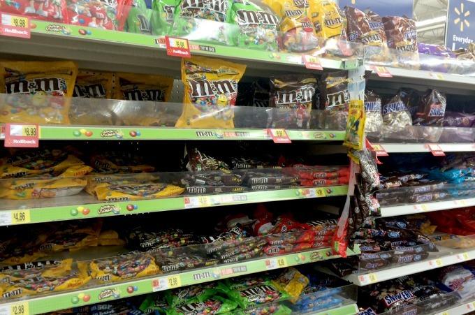 Where to find M & M candies at Walmart.