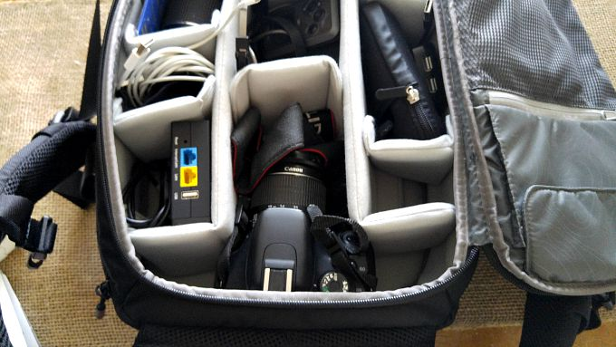 An inside look at the zippered compartment of the Incase DSLR Pro Pack.