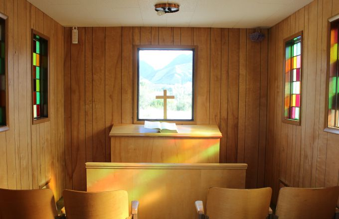 Inside the tiny church in Emigrant, Montana on the way to Yellowstone National Park.
