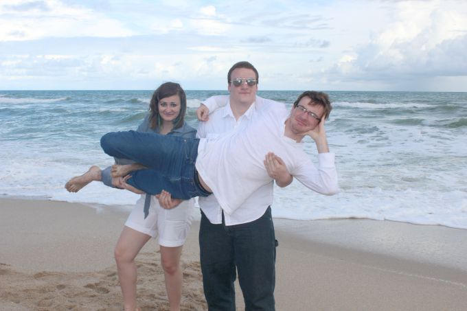 Messing around on the beach during a family vacation