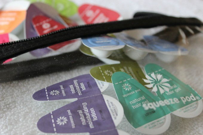 Squeeze Pod all natural travel products in leak proof packaging.
