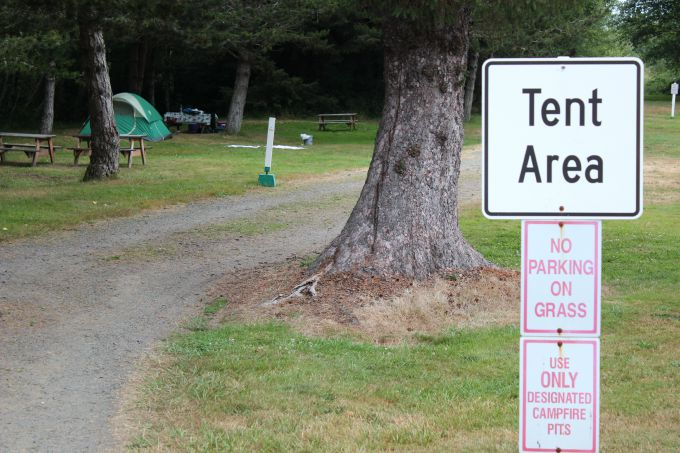 The Tent Area at the Thousand Trails Seaside RV Resort in Seaside, Oregon.