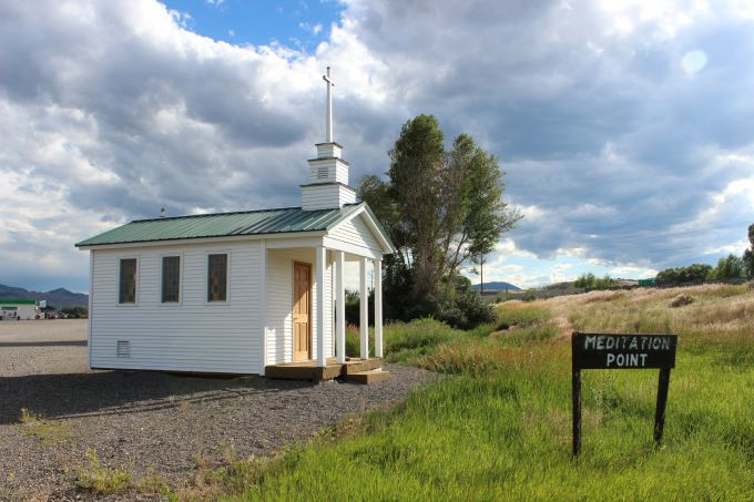 The tiny church at Meditation Point near Yellowstone National Park.