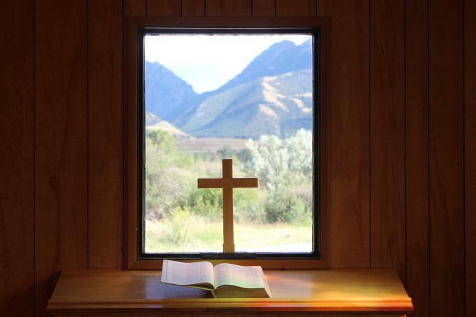The view from inside the tiny church in Emigrant, Montana on the way to Yellowstone National Park.