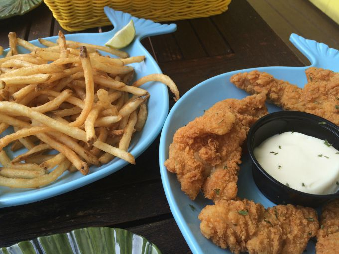 Grouper fingers served at The Keys restaurant on Put-in-Bay with french fries.