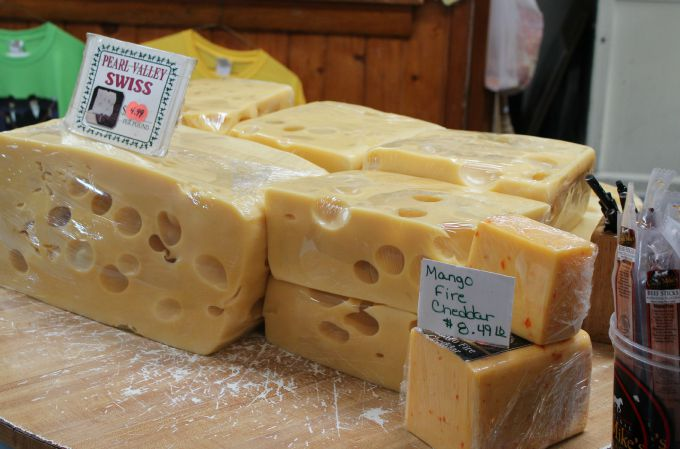 Schisler's Cheese House in Orrville, Ohio sells 2000 pounds of Pearl Valley Swiss Cheese each week.