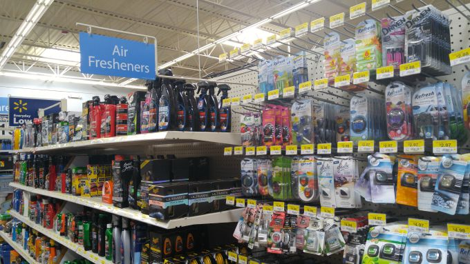 The car care aisle at Walmart has a selection of Yankee Candle Vent Clip and Car Jar fragrances for people on-the-go.