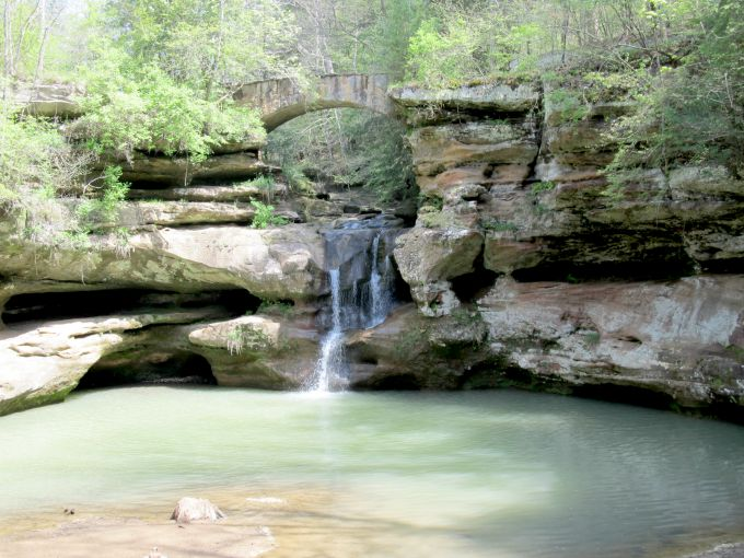 The falls along the Old Man's Cave Trail in Hocking Hills
