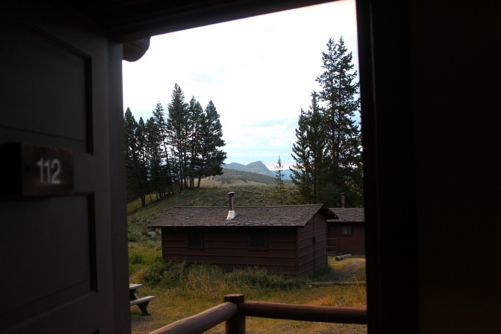 The view from inside the roughrider cabin looking out
