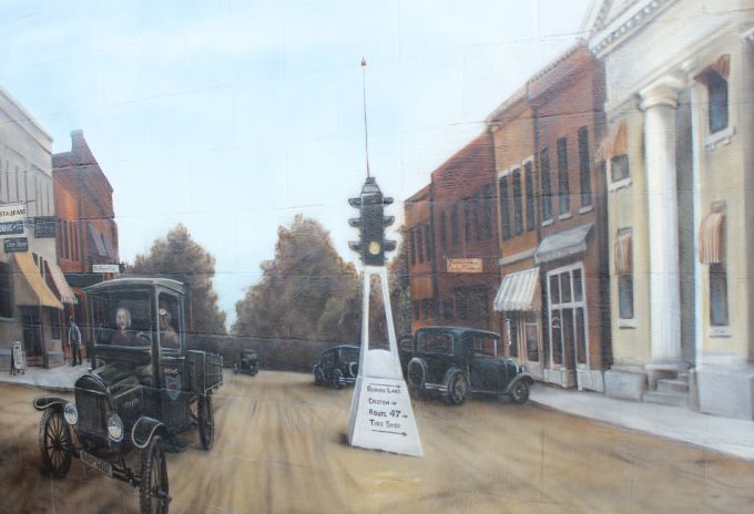 Centerburg Historical Mural- The third portion of the mural depicts life in Centerburg in the 1920's.