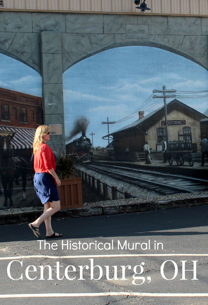 The Historical Mural in Centerburg, Ohio features scenes of the community during four different time periods.
