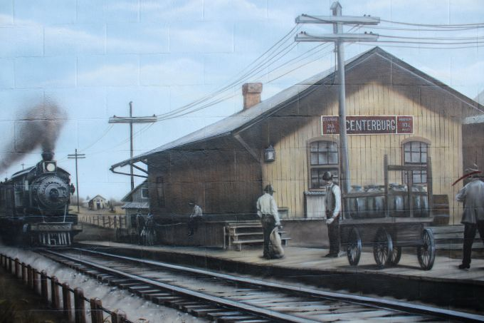 Centerburg Historical Mural- The second scene in the mural depicts the railroad in 1910.