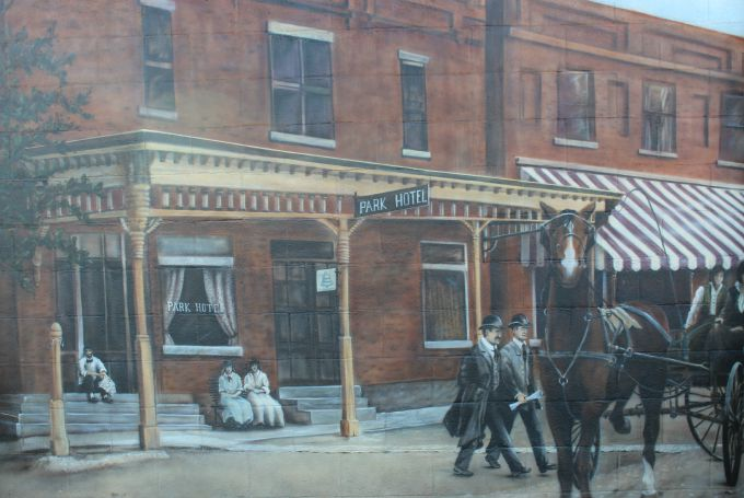 Centerburg Historical Mural- The first scene in the mural depicts the scene in 1890.