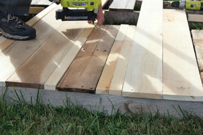 Building the floor in our glamping tent