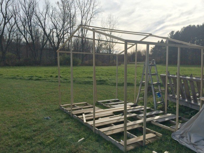 Building the frame of the glamping tent