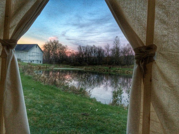 #FallGlamping The view looking outside our DIY glamping tent
