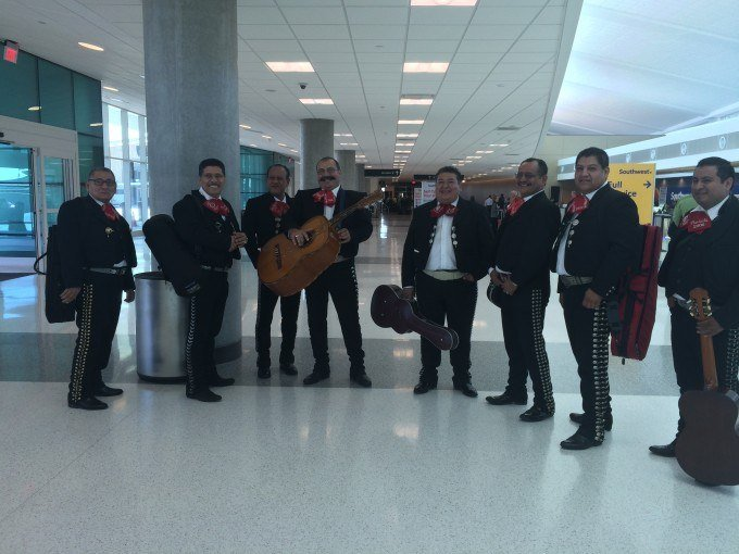 A Mariachi Band was celebrating the opening of the international terminal at Houston's Hobby Airport