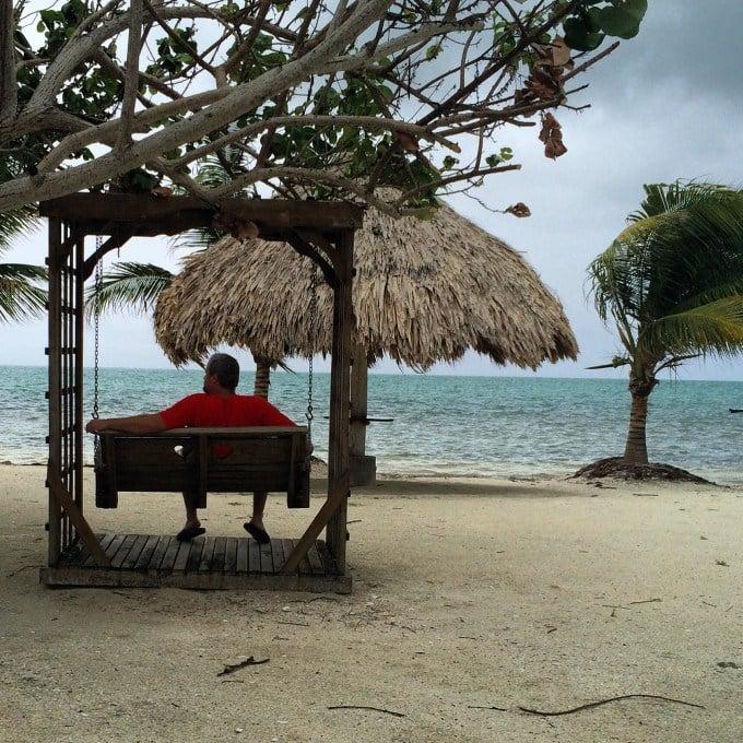 Relaxing at St. George's Caye Resort between rain showers