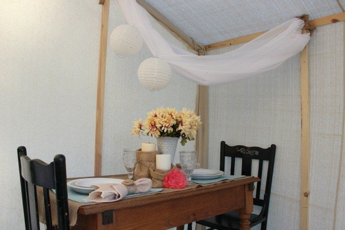 Indoor glamping dining area