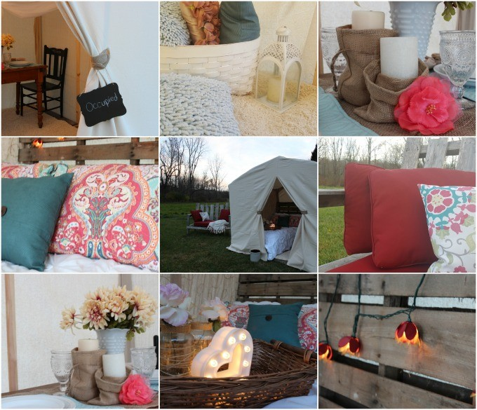 Inside the glamping tent