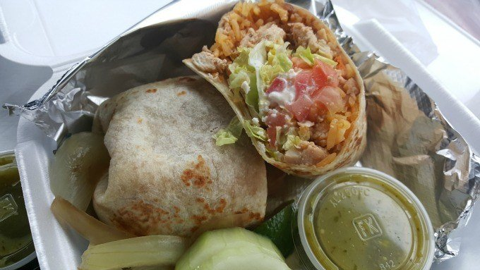 A peek inside the chicken burrito from the el tacoriendo food truck in Columbus, Ohio.