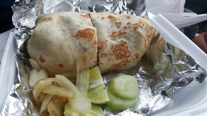 Chicken Burrito served at el tacoriendo food truck in Columbus, Ohio.