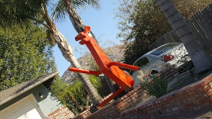 Pokey and Gumby roadside attractions spotted on a road trip in California.