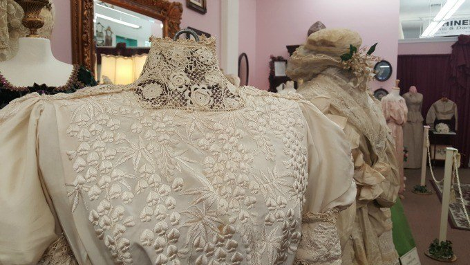 The Bridal Veil Museum in Hemet,California features a selection of Victorian Era gowns and accessories.