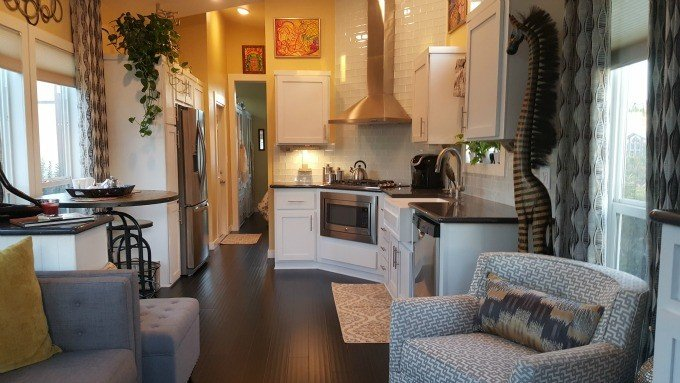 The eco-friendly 399-square foot park model travel trailer in the Golden Village Palms RV Resort is my dream home.