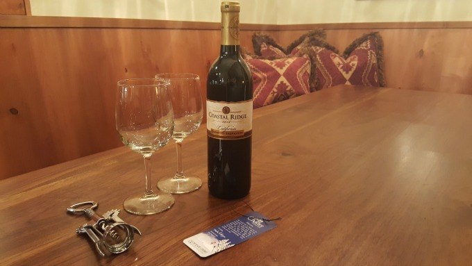 A complimentary bottle of wine waiting for us at The Charter, a Wyndham Vacation Rentals property.