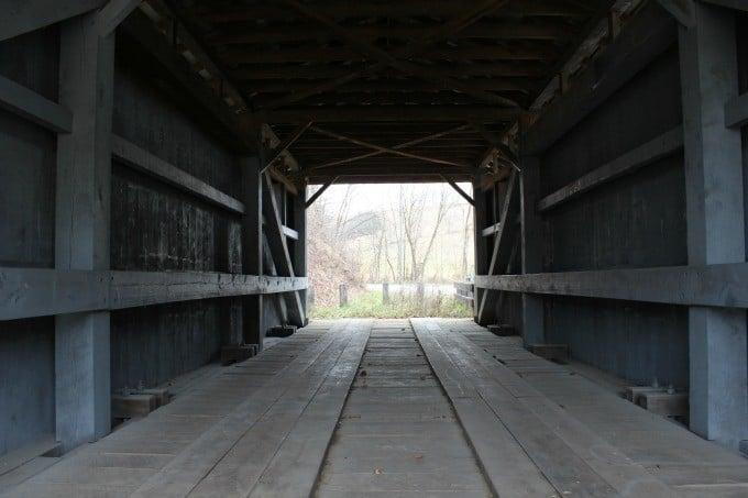 A glimpse inside the Mt.Olive Covered Bridge near McArthur, Ohio.