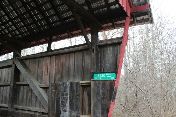 Inside the Cox Covered Bridge in Vinton County Ohio.