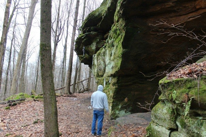 Viewing the stone carvings at Worden's Ledges.