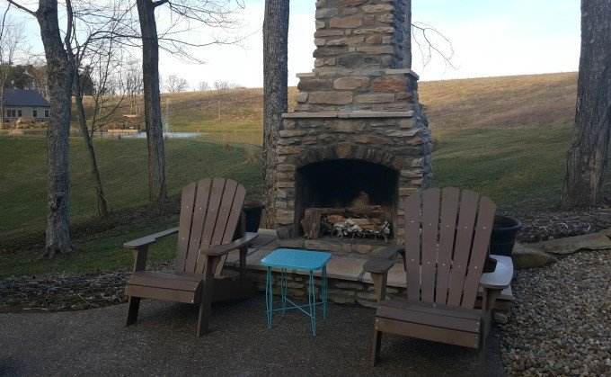Outdoor fireplace at the Bookers Lodge