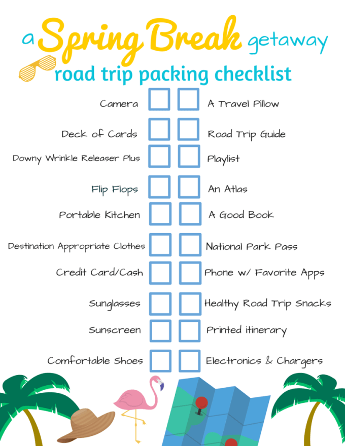 A Spring Break Getaway Road Trip Packing Checklist with Printable