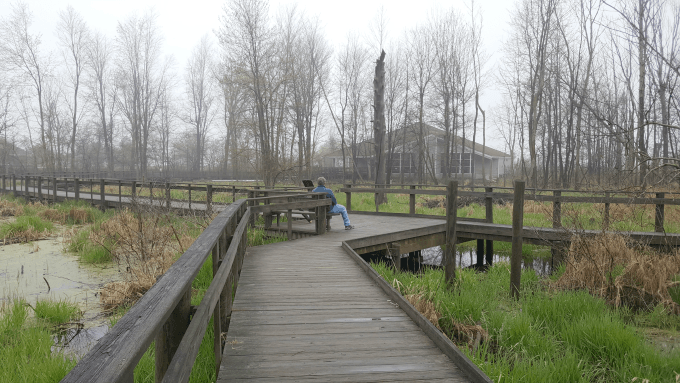 A glimpse behind the nature center at Maumee Bay State Park