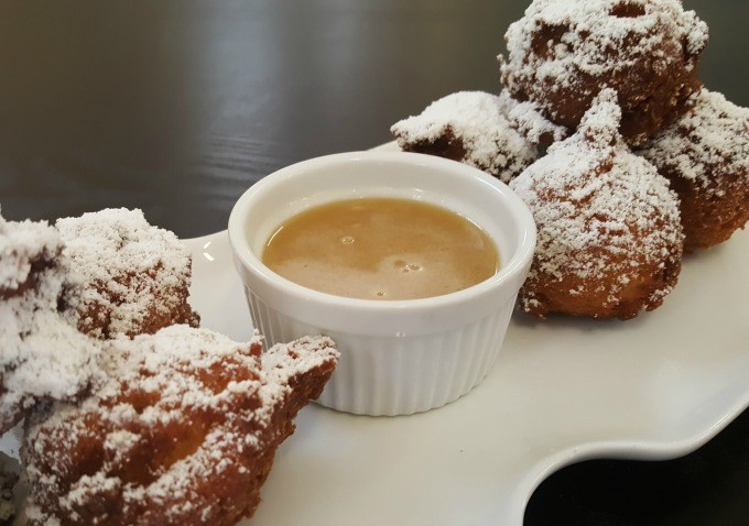 Apple fritters at the Quince Bakery and Cafe in Kidron, Ohio