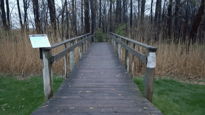 The entrance to the boardwalk at Maumee Bay State Park Lodge