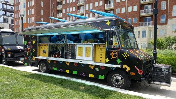 Food trucks line up at the Columbus Commons